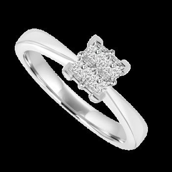 Platinum 4-Stone Princess cut Cluster Ring