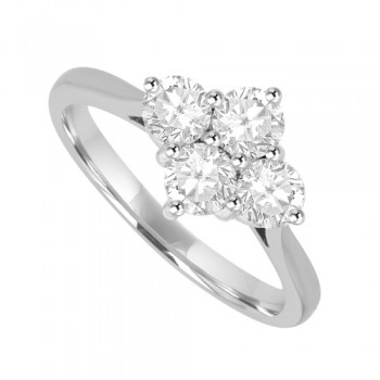 Platinum 4-stone 2x2 .75ct Diamond Ring