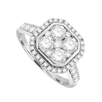 Platinum Cushion shaped Diamond Cluster Halo Ring