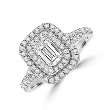 Platinum Emerald cut Diamond Double Halo Ring