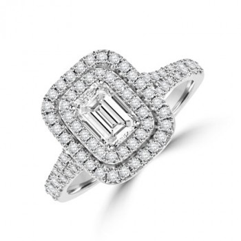 Platinum Emerald cut Diamond Double Halo Ring