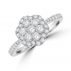 Platinum Diamond Flower Cluster Halo Ring