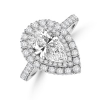 Platinum Pear cut 1.23ct FSi1 Diamond Halo Ring