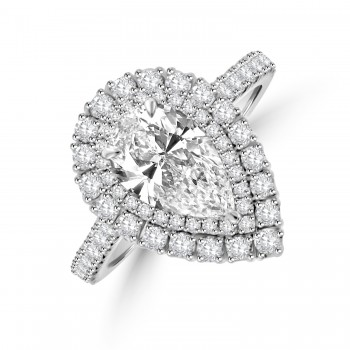 Platinum Pear cut 1.23ct ESi1 Diamond Halo Ring