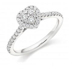 Platinum Diamond Cluster Heart Halo Ring