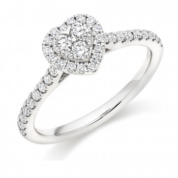 Platinum Diamond Heart Cluster Halo Ring