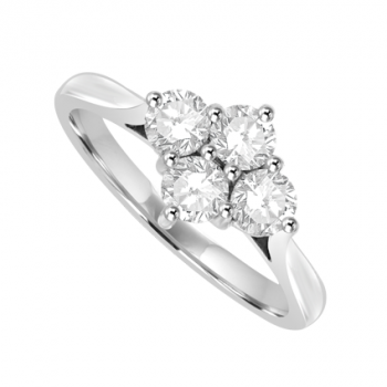 Platinum 4-stone Diamond Cluster Ring