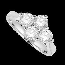 Platinum 4-stone 2x2 Cluster Diamond Ring