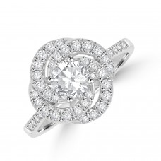 Platinum Solitaire FSi1 Diamond Swirl Cluster Ring