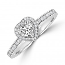 Platinum Solitaire Heart cut FVS1 Diamond Halo Ring