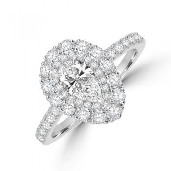 Platinum Pear GVS1 Diamond Double Halo Ring
