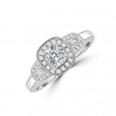 Platinum .53ct Cushion EVS1 Diamond Triple Cluster Ring