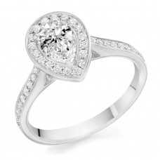 Platinum Pear cut DSi1 Diamond Halo Ring