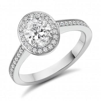 Platinum Oval cut DSi1 Diamond Halo Ring