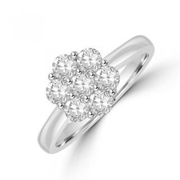 Platinum Daisy Cluster Diamond Ring