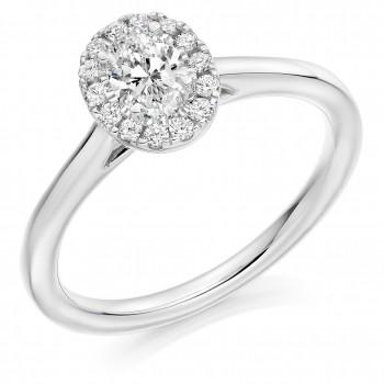 Platinum Solitaire Diamond Oval Halo Ring