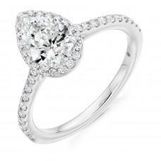 Platinum ESi1 Diamond Pear Halo Ring