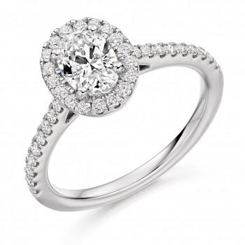 Platinum Oval EVS2 Diamond Halo Ring