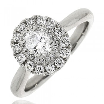 Platinum Oval DSi2 Diamond Double Halo Ring