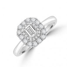 Platinum Emerald cut DVS2 Diamond Double Halo Ring