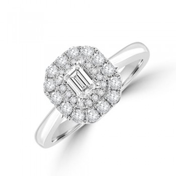 Platinum Emerald cut DVS2 Diamond Double Halo Ring