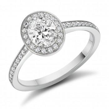 Platinum Solitaire DSi1 Diamond Halo Ring
