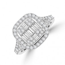Platinum Baguette Diamond Cushioned Halo Cluster Ring