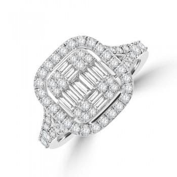 Platinum Baguette Diamond Cushioned Halo Cluster Ring