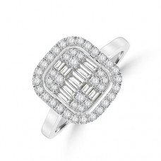 Platinum Baguette Diamond Cushion Halo Cluster Ring
