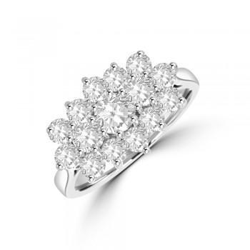 Platinium 15-stone Tri-Cluster 1.27ct Diamond Ring