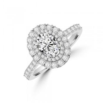 Platinum FSi1 Oval Double Halo Diamond Ring
