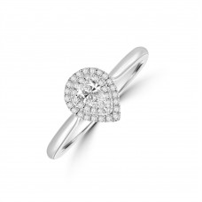 Platinum Solitaire Pear Diamond Halo Ring