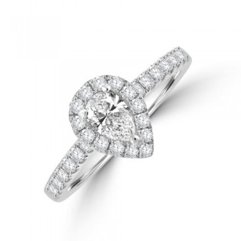 Platinum Pear Solitaire DSi1 Diamond Halo Ring