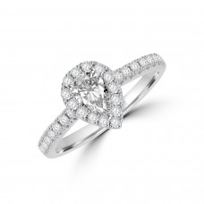 Platinum Pear FSi1 Diamond Halo Ring