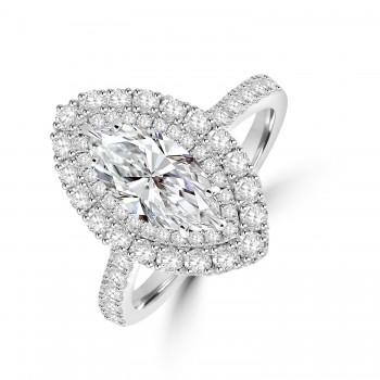 Platinum 1.05ct Marquise FSi2 Diamond Double Halo Ring