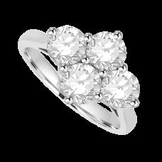 Platinum 1.25ct Diamond 2x2 Cluster Ring