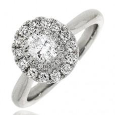 Platinum Oval GSi1 Diamond Double Halo Ring