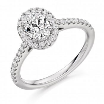 Platinum Oval ESi1 Diamond Halo Ring