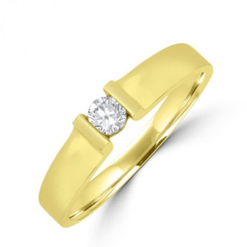 18ct Gold Diamond Solitaire Bar set Ring