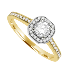 18ct Gold Solitaire .50ct VS1 Diamond Cushion Halo Ring
