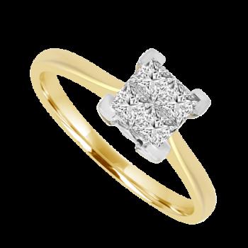18ct Gold Princess cut Diamond Quad Cluster
