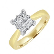 18ct Gold Princess cut Quad Diamond Engagement Ring