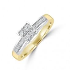 18ct Gold Princess cut Quad Cluster Diamond Ring