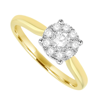 18ct Yellow Gold Diamond Solitaire Illusion Ring