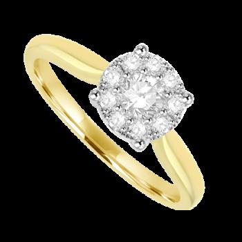 18ct Gold Diamond Solitaire Illusion Ring