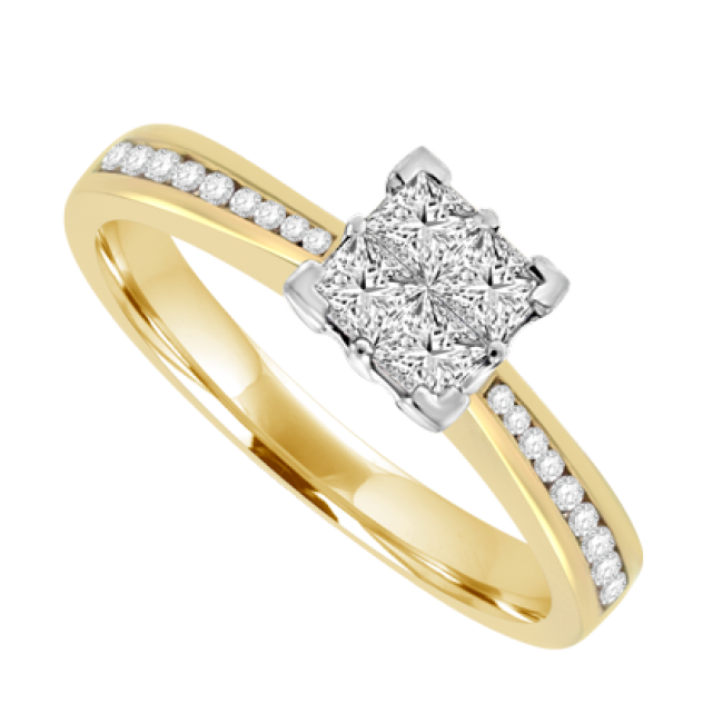 18ct Gold Princess Cut Diamond Quad Cluster Ring