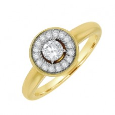 18ct Gold Diamond Solitaire Halo Ring
