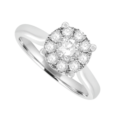 18ct White Gold Diamond Solitaire-Illusion Cluster Ring