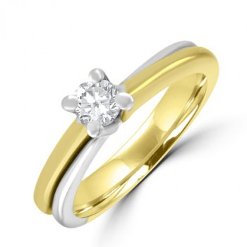 18ct Yellow & White Gold Diamond Solitaire ring