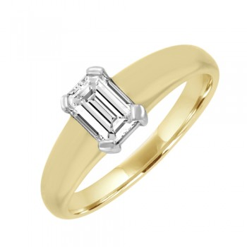 18ct Gold Solitaire Emerald cut Diamond Ring